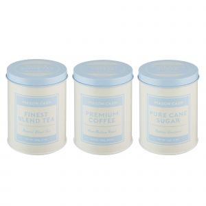 Typhoon Baker's Authority, cream and blue tea, sugar and coffee storage canisters - Product Image.
