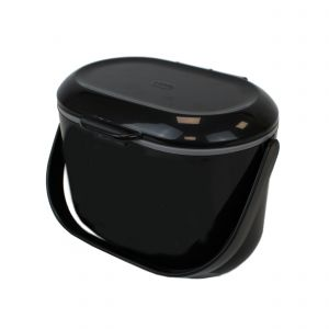 Black & Grey Addis 2.5L Kitchen Food Waste Bin - To one side