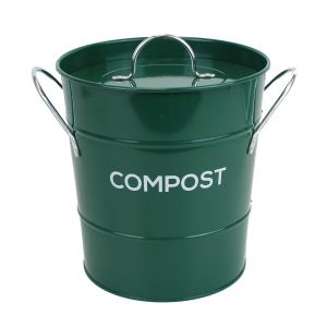 Caddy Company Metal Kitchen Compost Caddy in Dark Green - Main