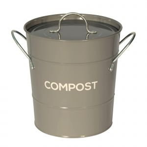 Dark Grey Metal Compost Pail