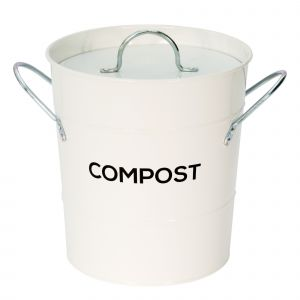 White Metal Compost Pail