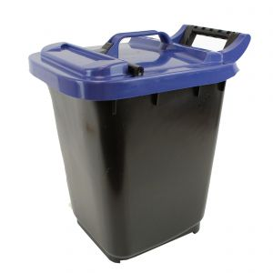 Large Kerbside Compost Caddy with Locking Lid - 23L - Black with Blue Lid