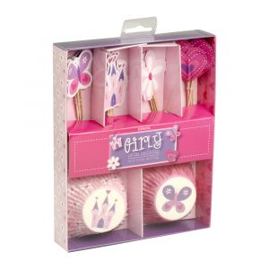 Girly Princess Cupcake Cases & Flag Set