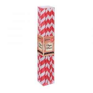 Cherry Red Stripe Paper Straws (25 Straws)
