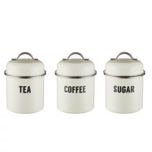 Typhoon Retro Cream, Tea, Coffee and Sugar Storage Canisters front.
