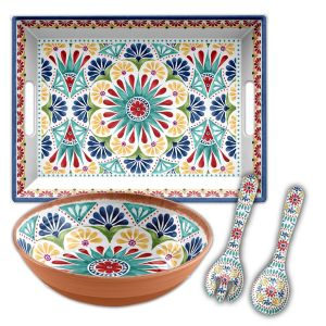 Rio Medallion Melamine Serving Set - 3 piece with Tray