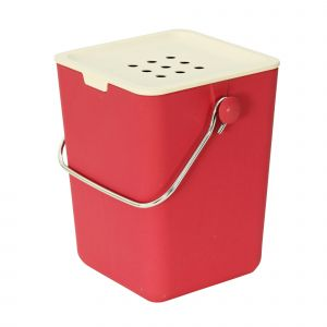 Nubu Bamboo Fibre Kitchen Compost Caddy - Red