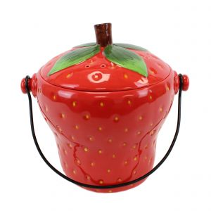 Red Strawberry Ceramic Compost Caddy