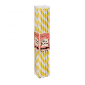 Lemon Yellow Stripe Paper Straws (25 Straws)