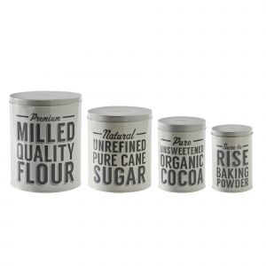 Typhoon Bakers Lane 4 Baking Storage Tins - Flour, Sugar, Cocoa and Baking Powder Canisters - Product Image.