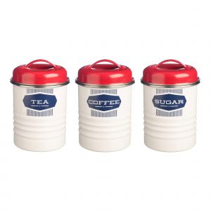 Belmont Tea, Coffee & Sugar Canisters - Red & White