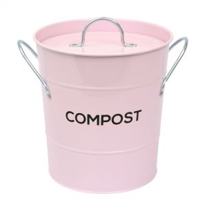 Pale Pink Metal Compost Pail