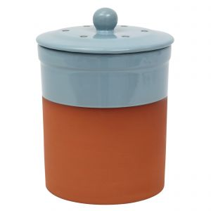 Chetnole Terracotta Compost Caddy - Pale Blue
