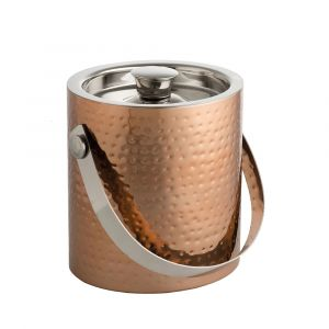 Hammered Copper Ice Bucket & Tongs