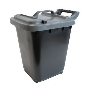 Large Kerbside Compost Caddy with Locking Lid - 23L - Black with Silver Lid