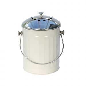 Cream Kitchen Compost Caddy with Stainless Steel Lid