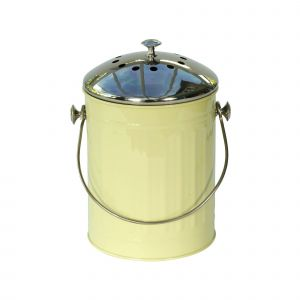 Sage Green Kitchen Compost Caddy with Stainless Steel Lid