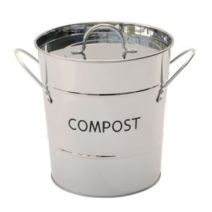 Polished Stainless Steel-finish Metal Compost Pail