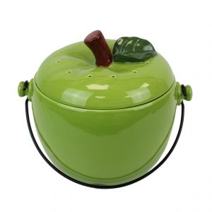 Green Apple Ceramic Compost Caddy