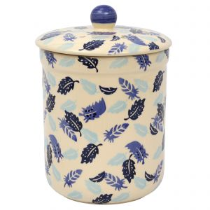 Haselbury Ceramic Compost Caddy - Blue Feathers