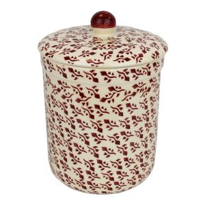 Haselbury Ceramic Compost Caddy - Burgundy Sprig