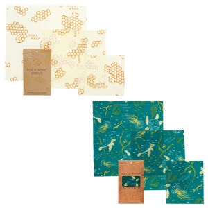 Bee's Wrap Food Covers - 2 x Sets of 3 - Honeycomb & Oceans Design
