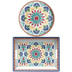 Rio Medallion Melamine Serving Set - Tray & Platter