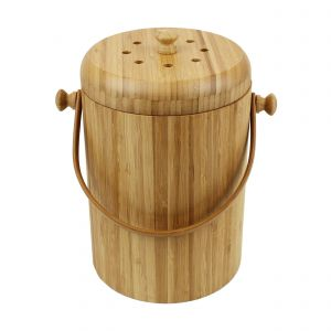 Round Wooden Bamboo Compost Caddy