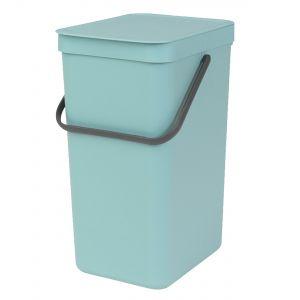 Brabantia Sort & Go Kitchen Recycling Bin - Mint - 16L Size
