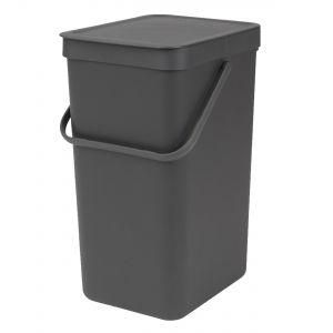 Brabantia Sort & Go Kitchen Recycling Bin - Grey - 16L Size