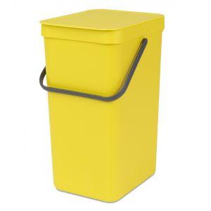 Brabantia Sort & Go Kitchen Recycling Bin - Yellow - 16L Size