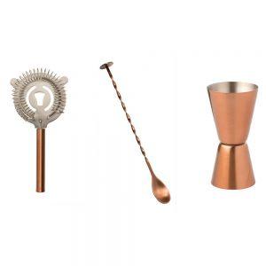 3 Piece Copper Classic Cocktail Kit