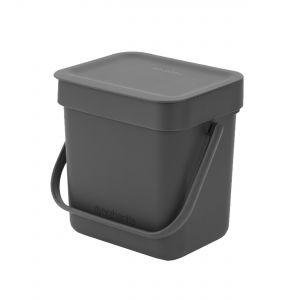 Brabantia Sort & Go Small Kitchen Food Waste Bin – Dark Grey - 3L