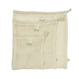 Organic Cotton Mesh Produce Bags - Set of 3