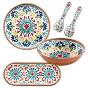 Rio Medallion Melamine Serving Set - 4 Piece with Platters