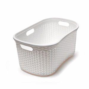 Addis 40L Rattan Effect Hipster Laundry Basket (Cream)