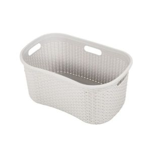 Addis 40L Rattan Effect Hipster Laundry Basket (Light Grey)