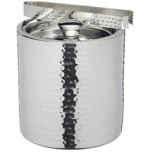 Small Hammered Silver Ice Bucket with Lid