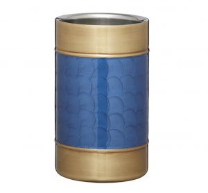 Stainless Steel Blue & Brass Wine Cooler