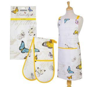 Eddingtons Butterfly - Cotton Apron, Tea Towel & Double Oven Glove Set