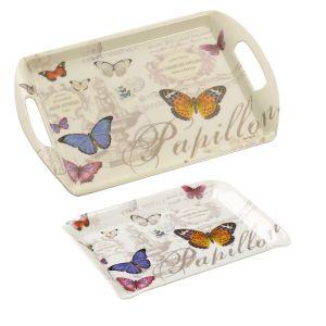 Eddingtons Butterfly - Medium Melamine Tray (Handles) & Scatter Tray Set