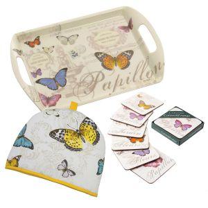 Eddingtons Butterfly - Cork Backed Coasters, Tea Tray & Tea Cosy Set