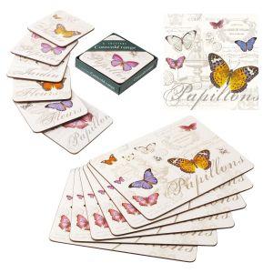 Eddingtons Butterfly - Cork Backed Placemats, Coasters & Napkin Set