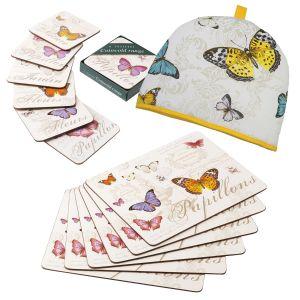 Eddingtons Butterfly - Cork Backed Placemats, Coasters & Tea Cosy Set
