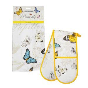 Eddingtons Butterfly - Tea Towel & Double Oven Glove Set