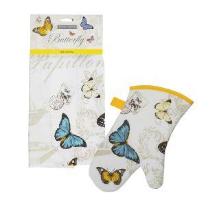 Eddingtons Butterfly - Tea Towel & Single Oven Glove Set