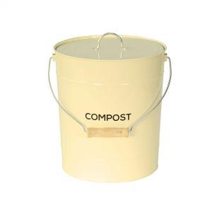 Large 10L Cream Metal Compost Pail