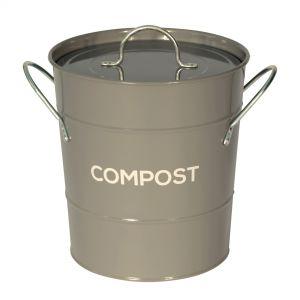Dark Grey Metal Compost Pail