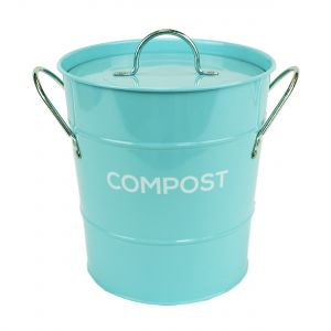 Light Blue Metal Compost Pail