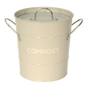 Light Grey Metal Compost Pail